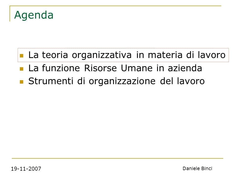 19-11-2007 Daniele Binci Agenda La teoria organizzativa in materia di lavoro La funzione Risorse Umane in azienda Strumenti di organizzazione del lavoro