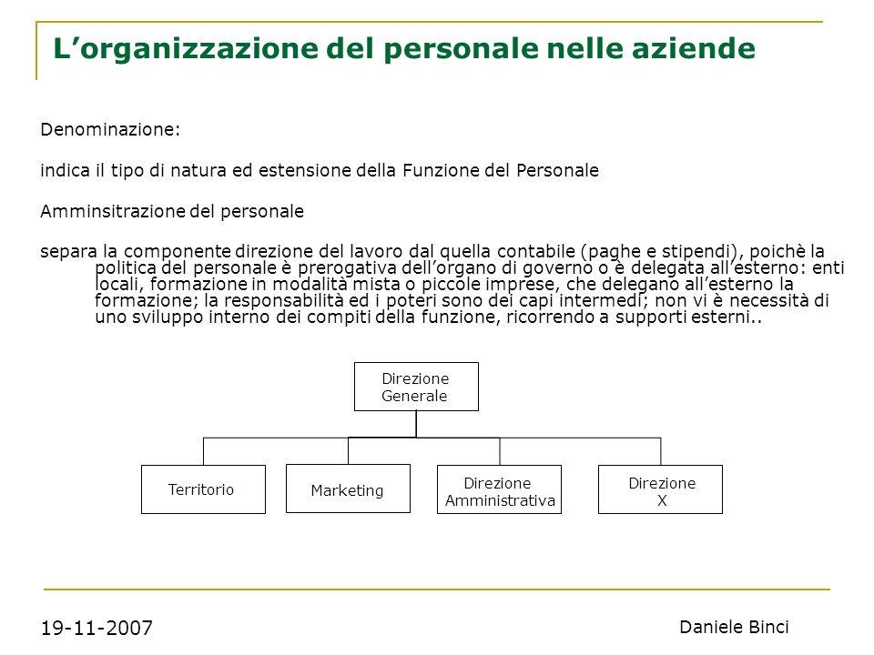 19-11-2007 Daniele Binci Lorganizzazione del personale nelle aziende Nella tipologia gestione del personale cè anche un impegno gestionale e non solo amministrativo.