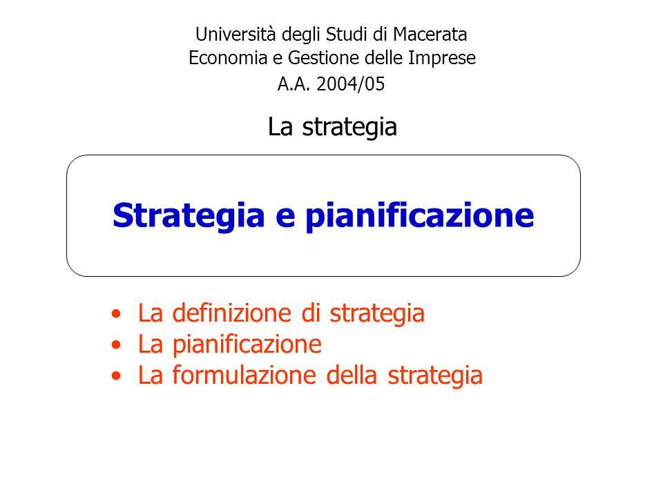 Strategia e pianificazione Università degli Studi di Macerata Economia e Gestione delle Imprese A.A. 2004/05 La strategia La definizione di strategia