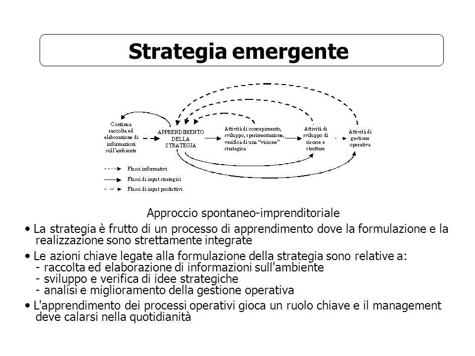 Strategia realizzata Sintesi tra: Formulazione di strategie deliberate (pianificazione e controllo) + Formazione di strategie emergenti (apprendimento e sperimentazione) Il management deve: - creare il contesto organizzativo e la cornice strategica per i processi di apprendimento - osservare, vagliare e sostenere i modelli strategici emergenti