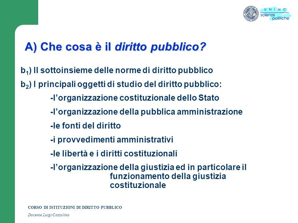 CORSO DI ISTITUZIONI DI DIRITTO PUBBLICO Docente Luigi Cozzolino A) Che cosa è il diritto pubblico? b 1 ) Il sottoinsieme delle norme di diritto pubbl