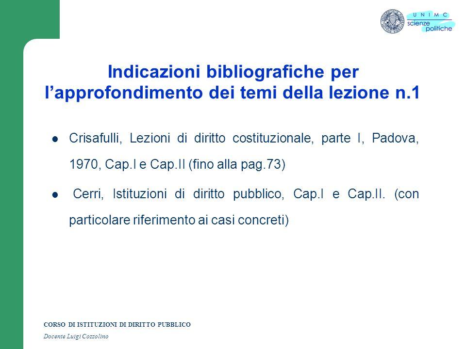 CORSO DI ISTITUZIONI DI DIRITTO PUBBLICO Docente Luigi Cozzolino Indicazioni bibliografiche per lapprofondimento dei temi della lezione n.1 Crisafulli
