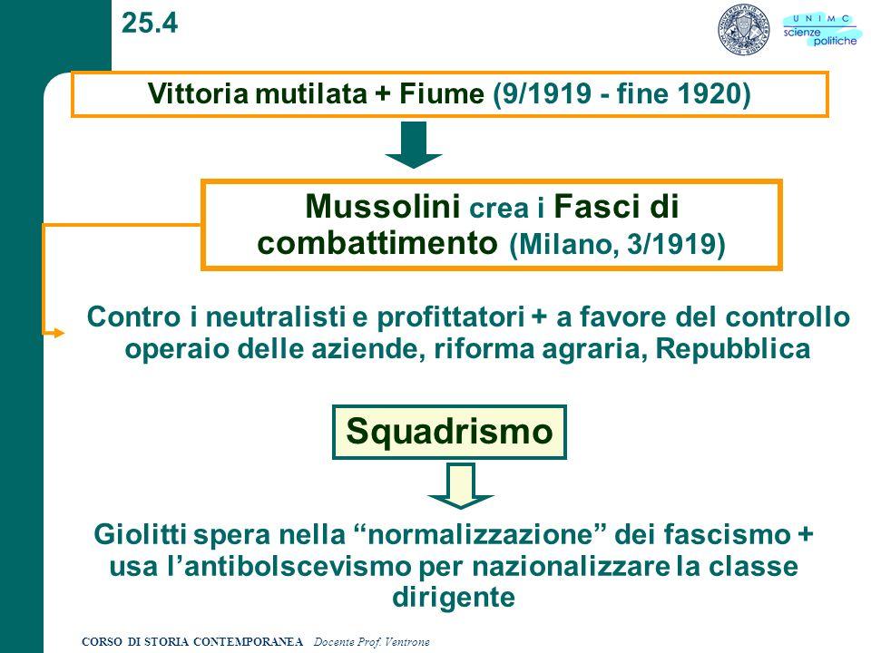 CORSO DI STORIA CONTEMPORANEA Docente Prof. Ventrone 25.4 Vittoria mutilata + Fiume (9/1919 - fine 1920) Mussolini crea i Fasci di combattimento (Mila