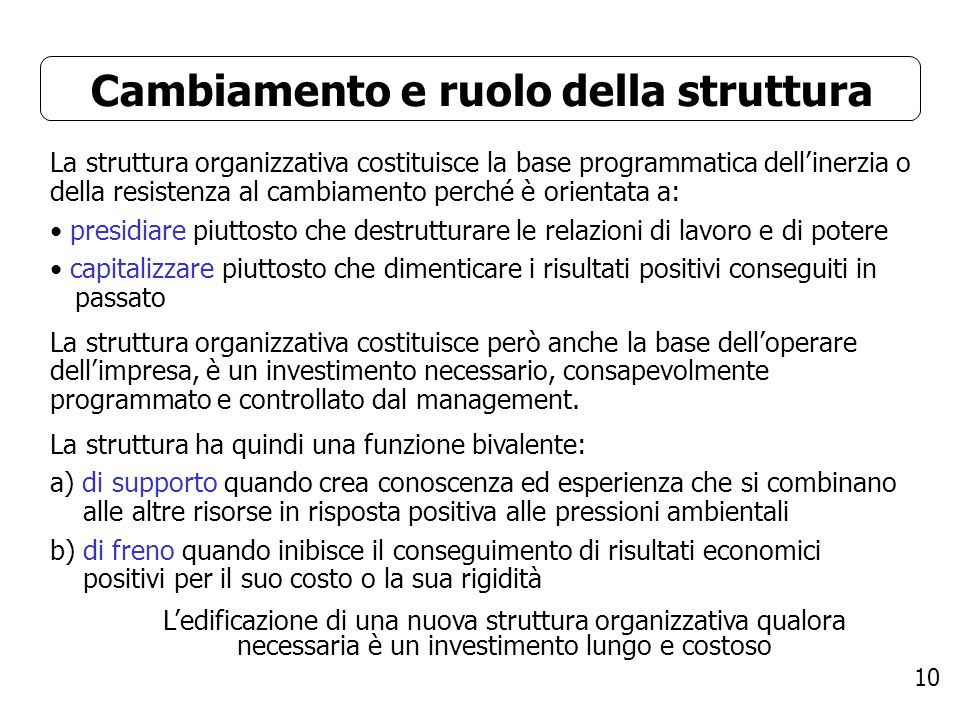 10 Cambiamento e ruolo della struttura La struttura organizzativa costituisce la base programmatica dellinerzia o della resistenza al cambiamento perc
