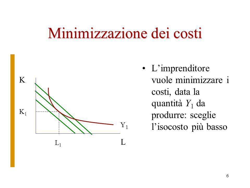 5 Lisocosto Per utilizzare determinate quantità dei fattori produttivi, dati i prezzi, è necessario effettuare una spesa.