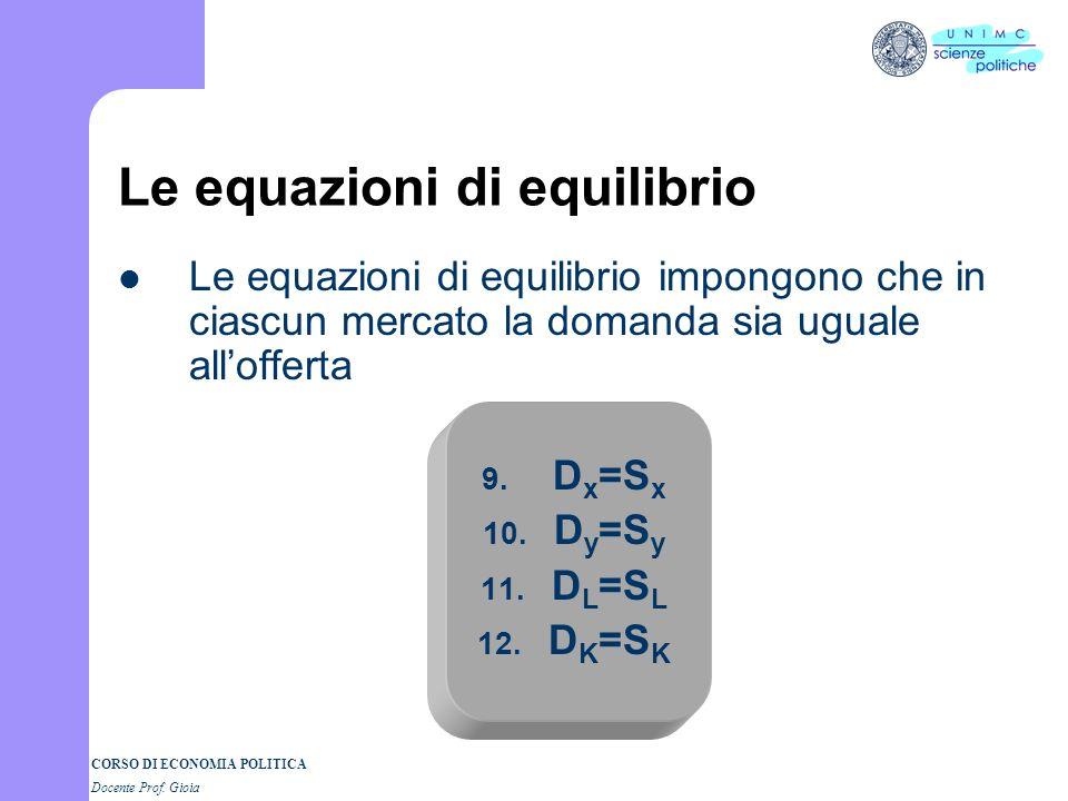 CORSO DI ECONOMIA POLITICA Docente Prof. Gioia Le equazioni di comportamento 1. D x 2. S x 3. D y 4. S y 5. D L 6. S L 7. D K 8. S k Da quanto detto r