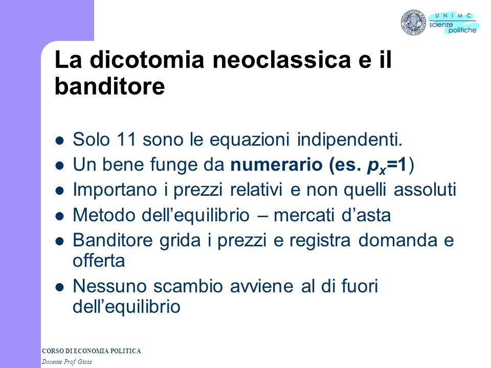 CORSO DI ECONOMIA POLITICA Docente Prof. Gioia Esistenza dellequilibrio Si hanno 12 incognite: p x, p y, w, r, D x, S x, D y, S y, D L, S L, D K, S K