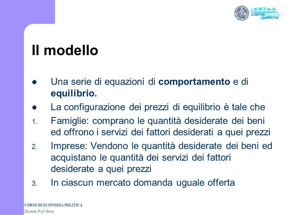 CORSO DI ECONOMIA POLITICA Docente Prof. Gioia Equilibrio economico generale Interdipendenza tra tutti i mercati – Aumenta la domanda di automobili-si