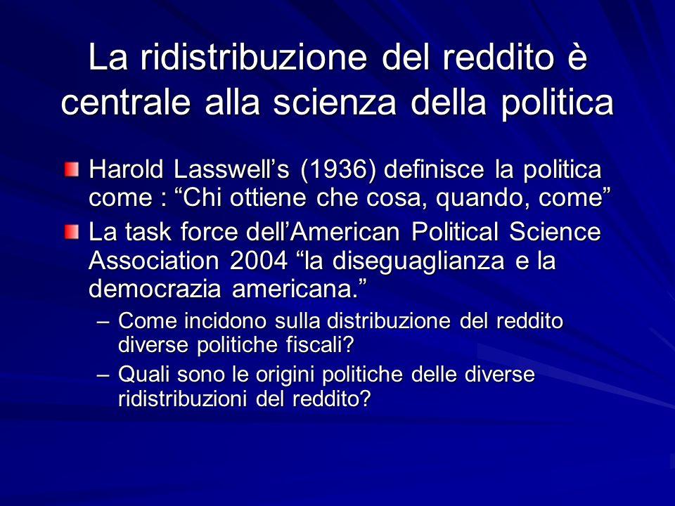 La ridistribuzione del reddito è centrale alla scienza della politica Harold Lasswells (1936) definisce la politica come : Chi ottiene che cosa, quando, come La task force dellAmerican Political Science Association 2004 la diseguaglianza e la democrazia americana.