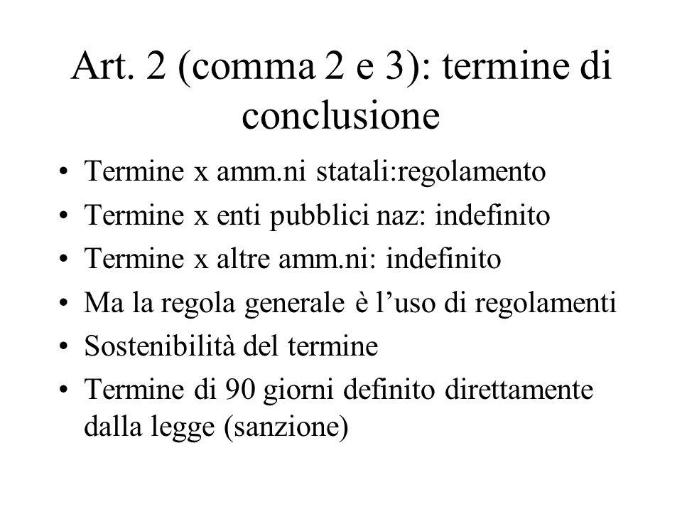 Art. 2 (comma 2 e 3): termine di conclusione Termine x amm.ni statali:regolamento Termine x enti pubblici naz: indefinito Termine x altre amm.ni: inde