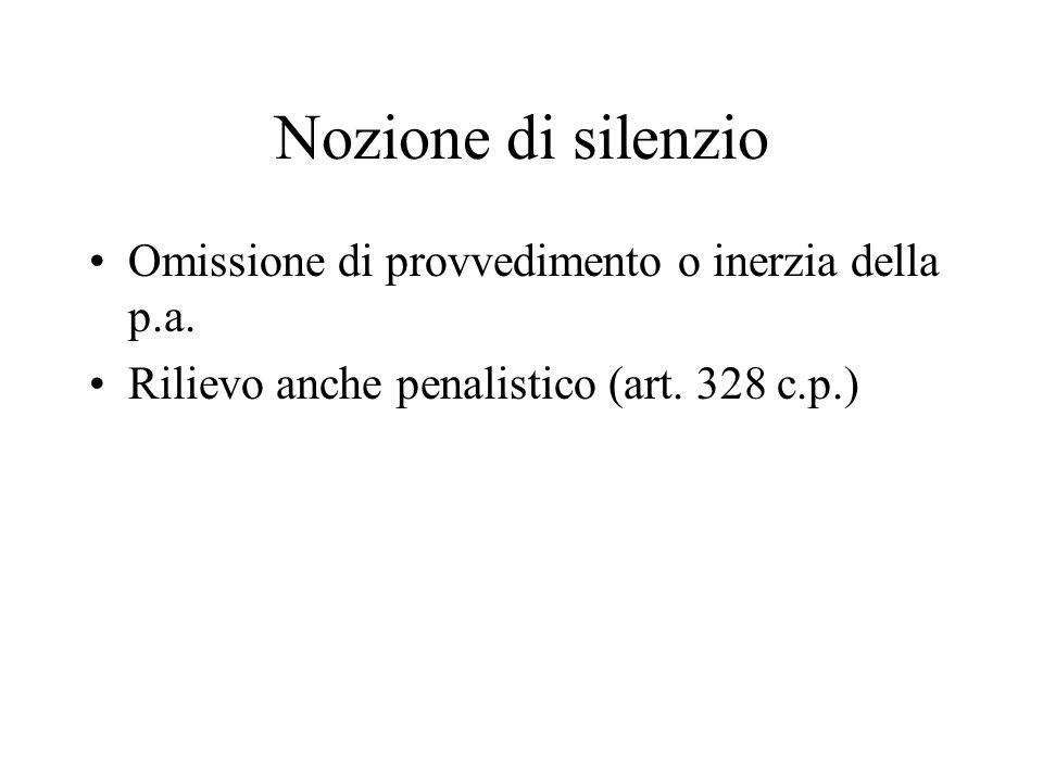 Nozione di silenzio Omissione di provvedimento o inerzia della p.a. Rilievo anche penalistico (art. 328 c.p.)