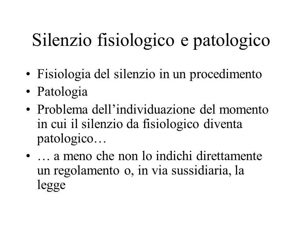 Silenzio fisiologico e patologico Fisiologia del silenzio in un procedimento Patologia Problema dellindividuazione del momento in cui il silenzio da f