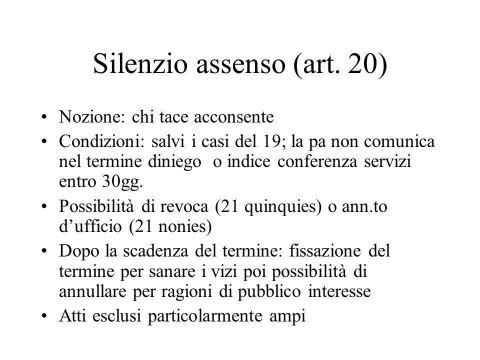 Silenzio assenso (art. 20) Nozione: chi tace acconsente Condizioni: salvi i casi del 19; la pa non comunica nel termine diniego o indice conferenza se