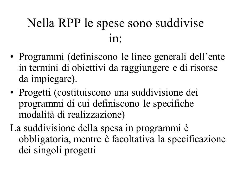 Nella RPP le spese sono suddivise in: Programmi (definiscono le linee generali dellente in termini di obiettivi da raggiungere e di risorse da impiegare).