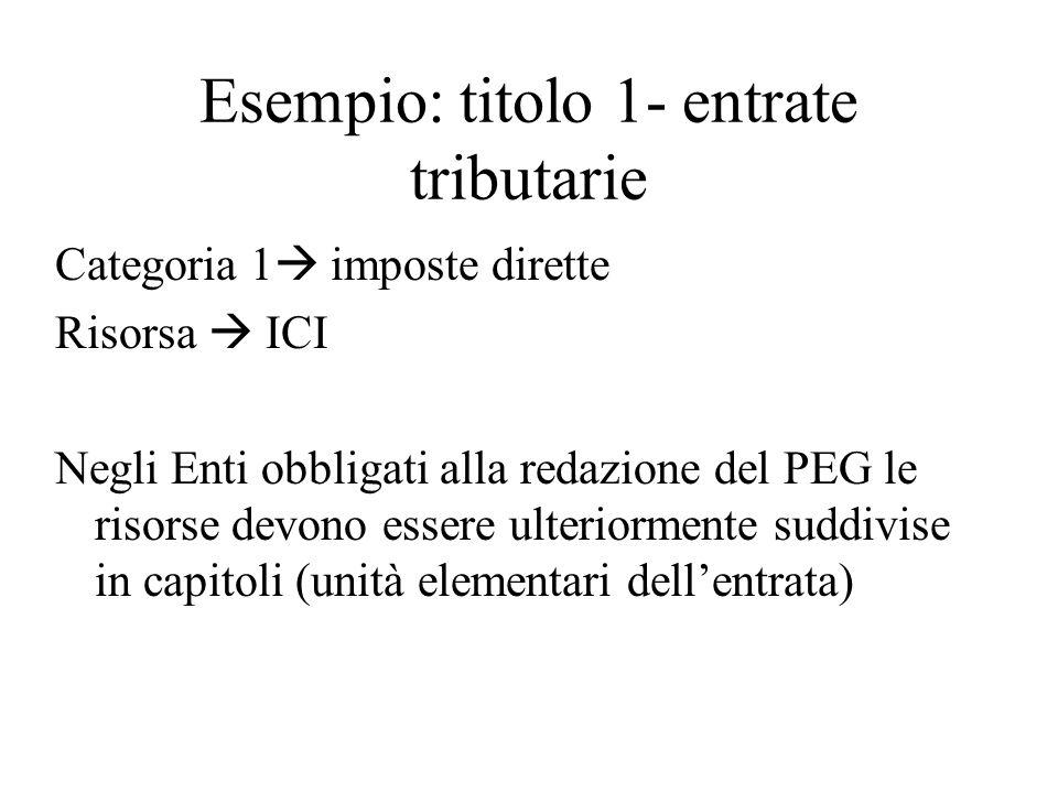 Esempio: titolo 1- entrate tributarie Categoria 1 imposte dirette Risorsa ICI Negli Enti obbligati alla redazione del PEG le risorse devono essere ulteriormente suddivise in capitoli (unità elementari dellentrata)