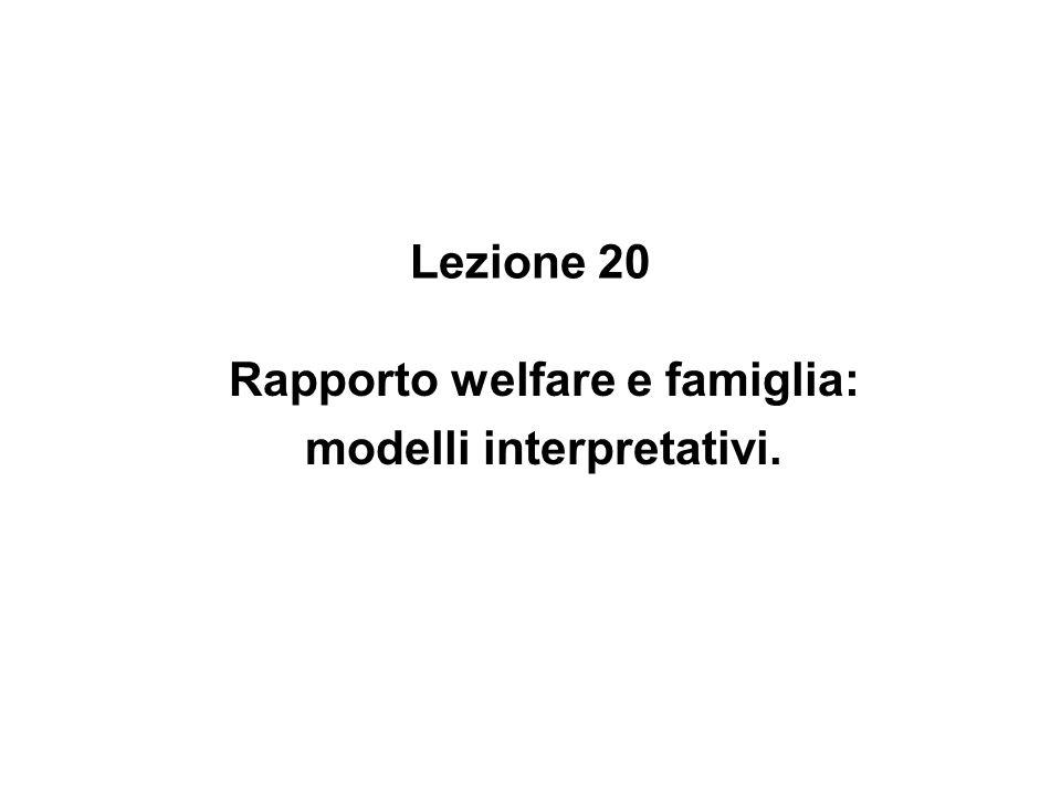 Lezione 20 Rapporto welfare e famiglia: modelli interpretativi.