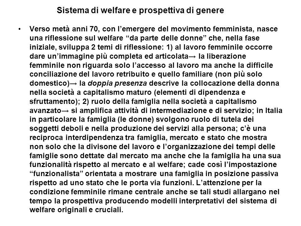 Sistema di welfare e prospettiva di genere Verso metà anni 70, con lemergere del movimento femminista, nasce una riflessione sul welfare da parte dell
