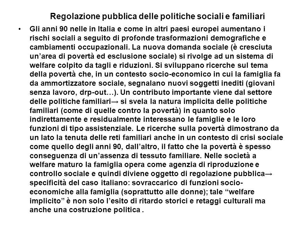 Regolazione pubblica delle politiche sociali e familiari Gli anni 90 nelle in Italia e come in altri paesi europei aumentano i rischi sociali a seguit