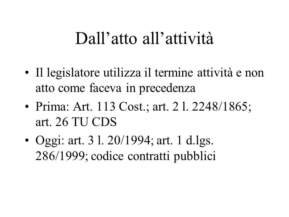 Dallatto allattività Il legislatore utilizza il termine attività e non atto come faceva in precedenza Prima: Art. 113 Cost.; art. 2 l. 2248/1865; art.