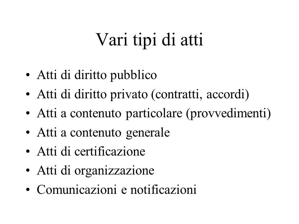 Vari tipi di atti Atti di diritto pubblico Atti di diritto privato (contratti, accordi) Atti a contenuto particolare (provvedimenti) Atti a contenuto