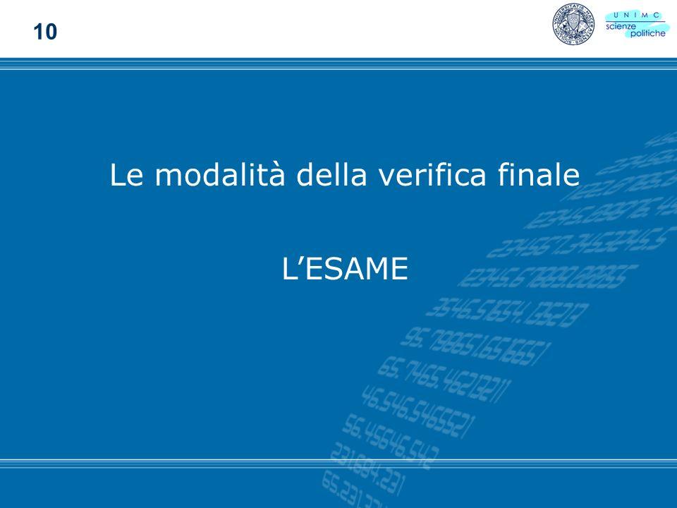 Le modalità della verifica finale LESAME 10