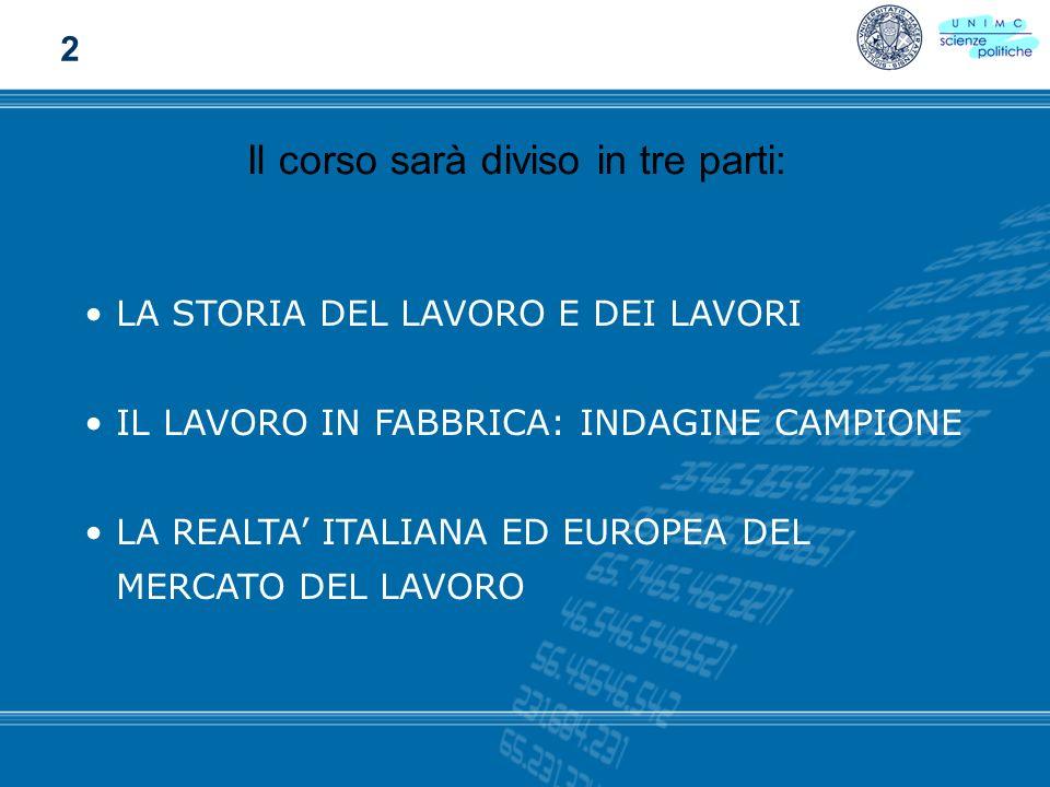 LA STORIA DEL LAVORO E DEI LAVORI IL LAVORO IN FABBRICA: INDAGINE CAMPIONE LA REALTA ITALIANA ED EUROPEA DEL MERCATO DEL LAVORO Il corso sarà diviso i