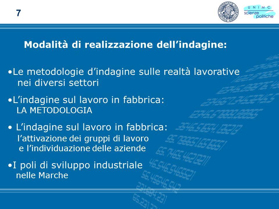 Modalità di realizzazione dellindagine: Le metodologie dindagine sulle realtà lavorative nei diversi settori Lindagine sul lavoro in fabbrica: LA METO