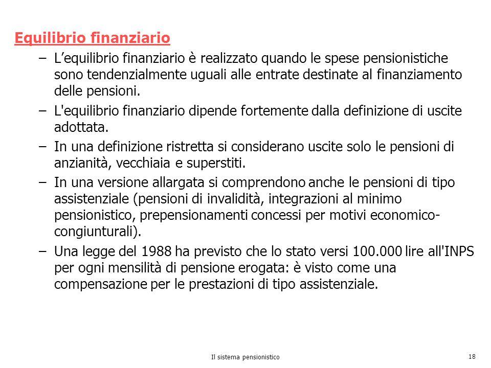 Il sistema pensionistico 18 Equilibrio finanziario –Lequilibrio finanziario è realizzato quando le spese pensionistiche sono tendenzialmente uguali al