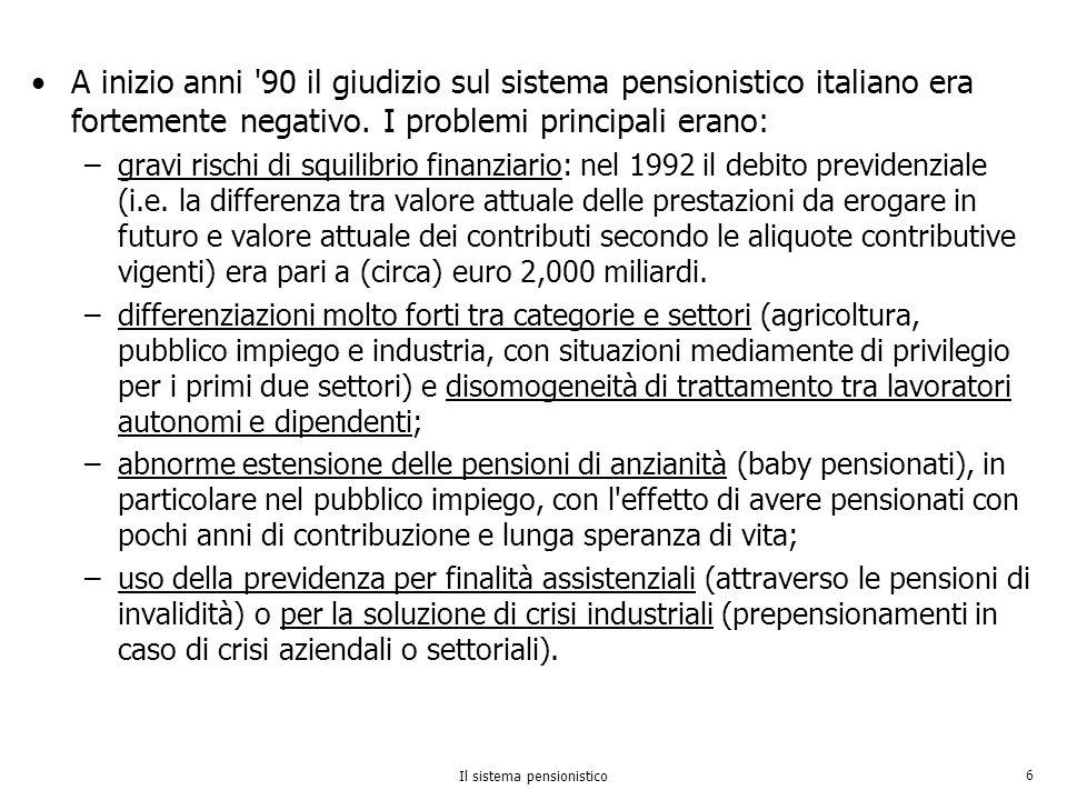 Il sistema pensionistico 6 A inizio anni '90 il giudizio sul sistema pensionistico italiano era fortemente negativo. I problemi principali erano: –gra