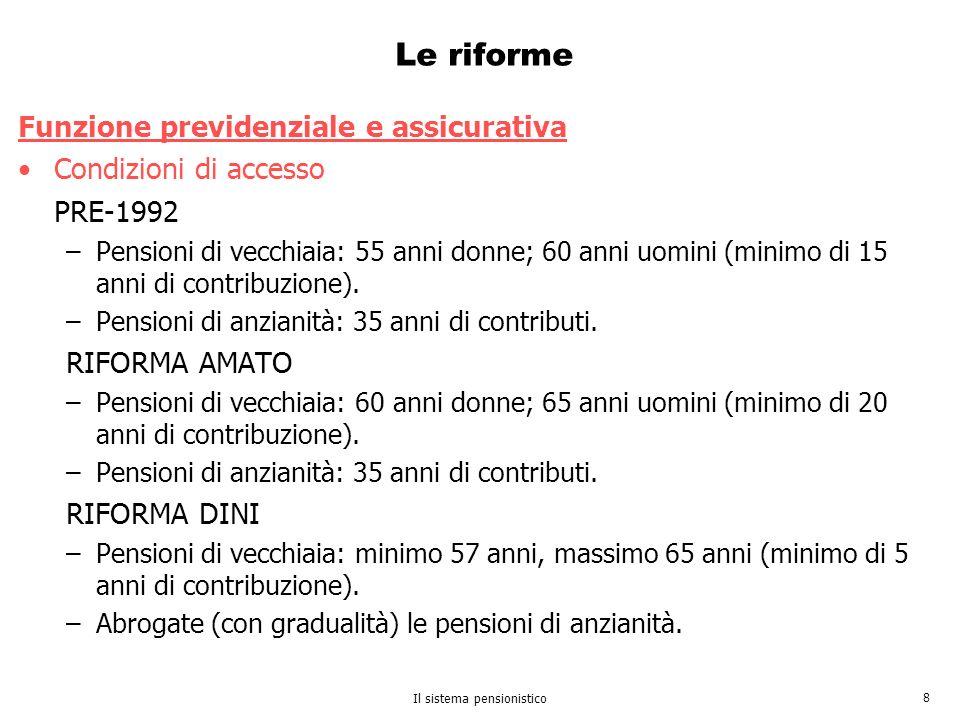 Il sistema pensionistico 8 Le riforme Funzione previdenziale e assicurativa Condizioni di accesso PRE-1992 –Pensioni di vecchiaia: 55 anni donne; 60 a