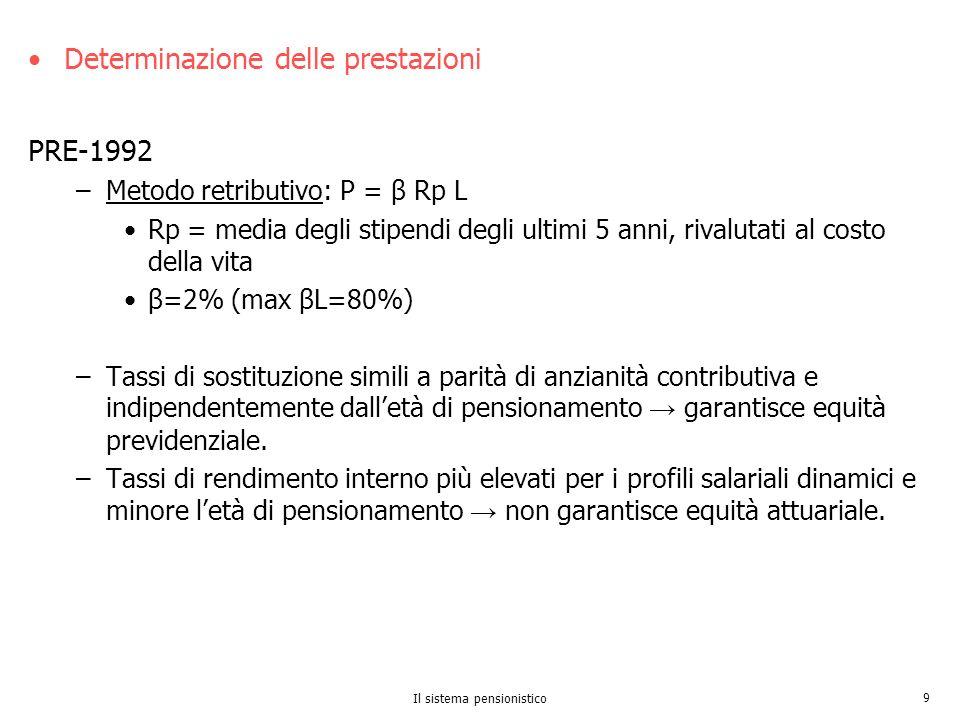 Il sistema pensionistico 9 Determinazione delle prestazioni PRE-1992 –Metodo retributivo: P = β Rp L Rp = media degli stipendi degli ultimi 5 anni, ri