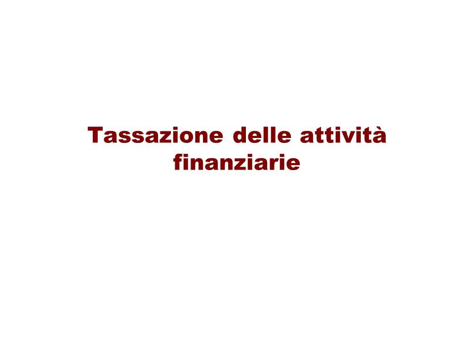 Tassazione delle attività finanziarie