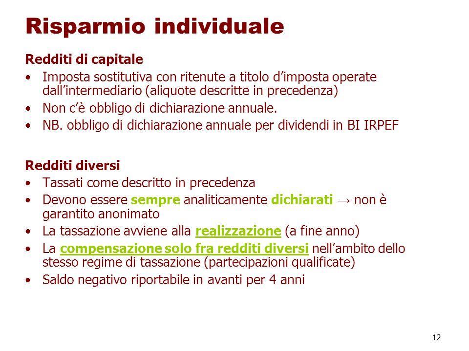 12 Risparmio individuale Redditi di capitale Imposta sostitutiva con ritenute a titolo dimposta operate dallintermediario (aliquote descritte in prece