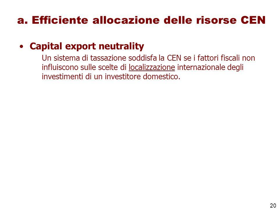 20 a. Efficiente allocazione delle risorse CEN Capital export neutrality Un sistema di tassazione soddisfa la CEN se i fattori fiscali non influiscono