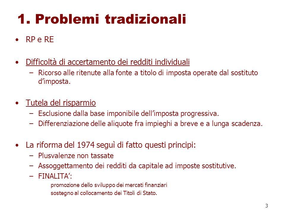 3 1. Problemi tradizionali RP e RE Difficoltà di accertamento dei redditi individuali –Ricorso alle ritenute alla fonte a titolo di imposta operate da