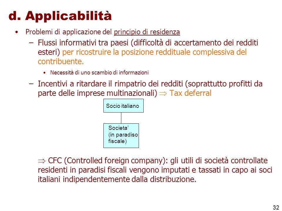 32 d. Applicabilità Problemi di applicazione del principio di residenza –Flussi informativi tra paesi (difficoltà di accertamento dei redditi esteri)