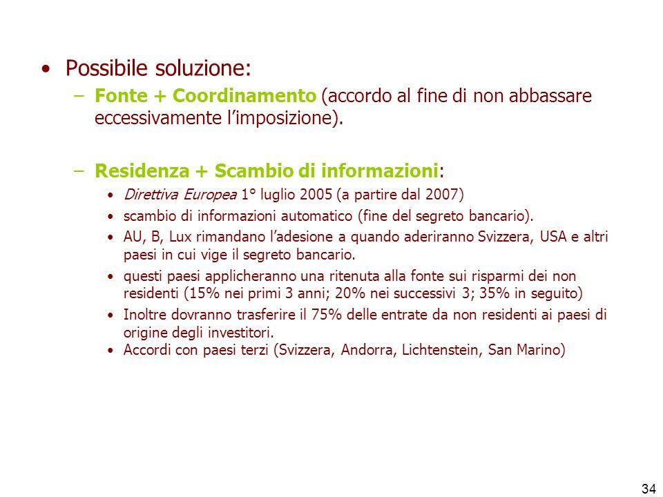 34 Possibile soluzione: –Fonte + Coordinamento (accordo al fine di non abbassare eccessivamente limposizione). –Residenza + Scambio di informazioni: D