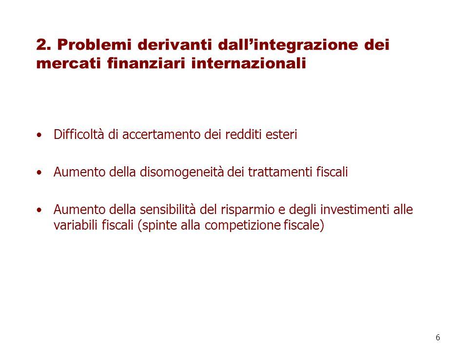 6 2. Problemi derivanti dallintegrazione dei mercati finanziari internazionali Difficoltà di accertamento dei redditi esteri Aumento della disomogenei