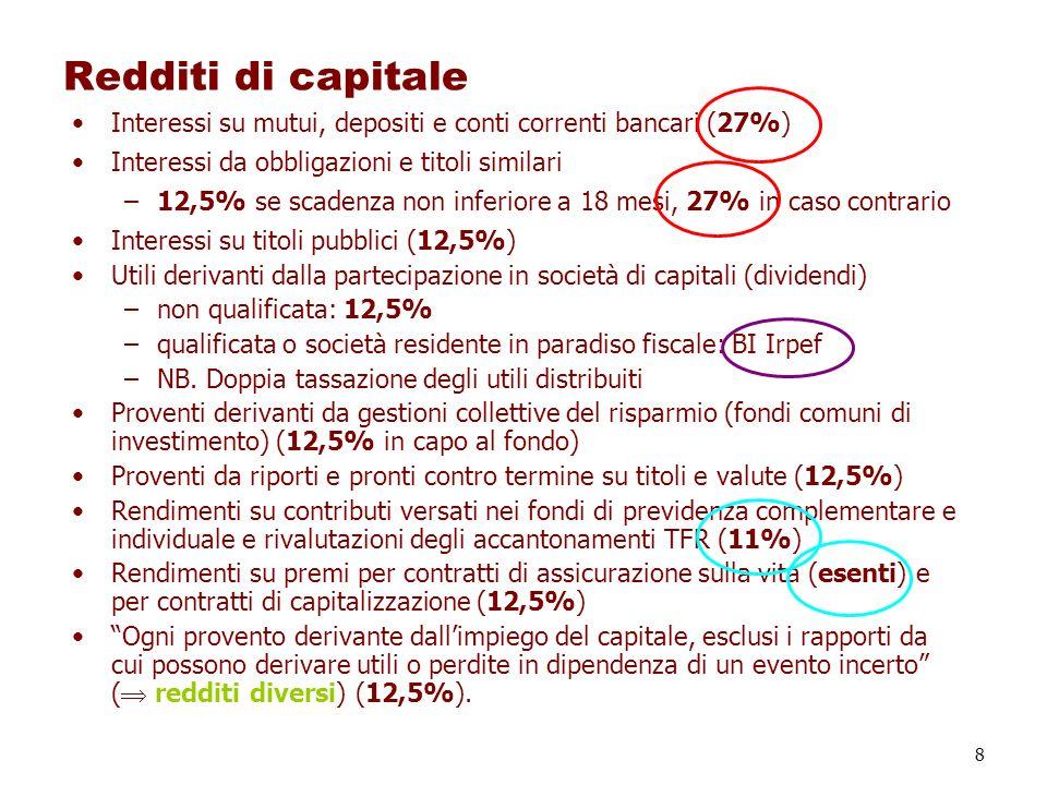 8 Redditi di capitale Interessi su mutui, depositi e conti correnti bancari (27%) Interessi da obbligazioni e titoli similari –12,5% se scadenza non i