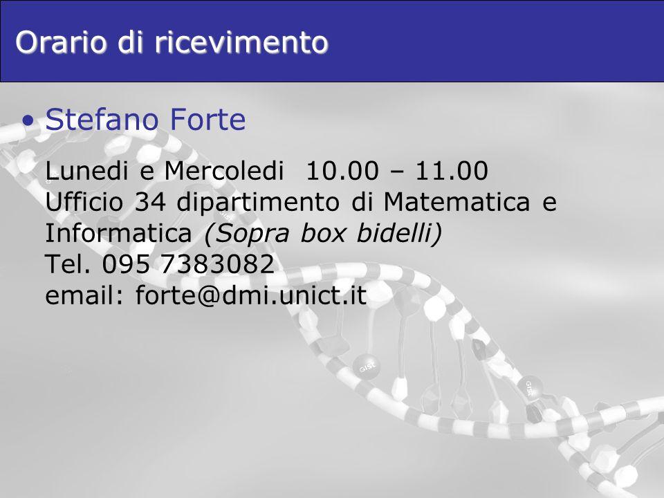 Orario di ricevimento Stefano Forte Lunedi e Mercoledi 10.00 – 11.00 Ufficio 34 dipartimento di Matematica e Informatica (Sopra box bidelli) Tel. 095