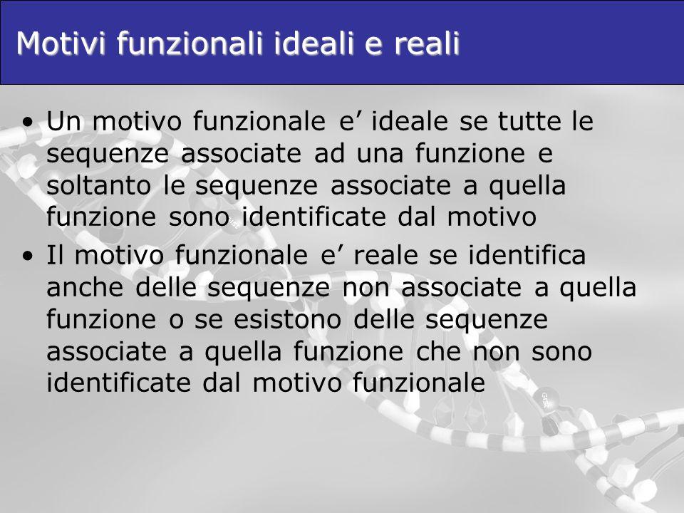 Motivi funzionali ideali e reali Un motivo funzionale e ideale se tutte le sequenze associate ad una funzione e soltanto le sequenze associate a quell