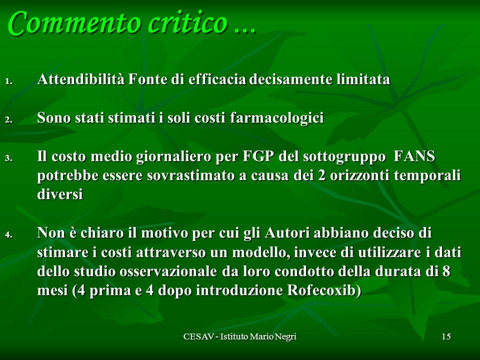 CESAV - Istituto Mario Negri15 1. Attendibilità Fonte di efficacia decisamente limitata 2.