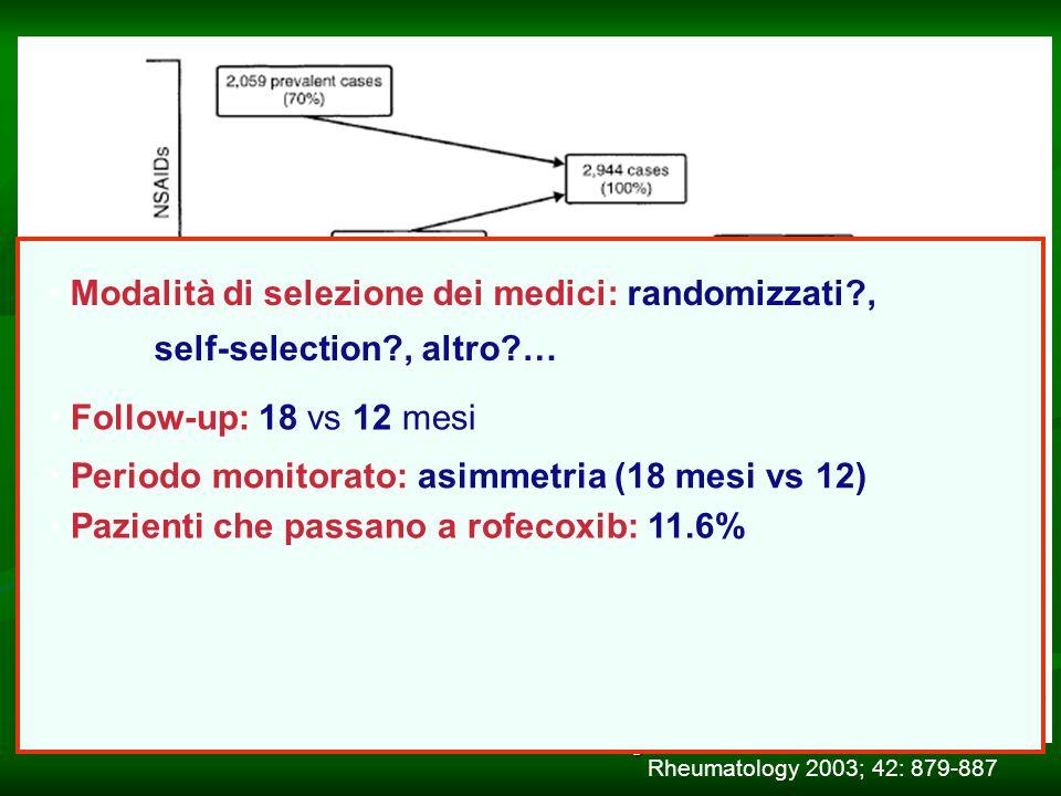 CESAV - Istituto Mario Negri18 Follow-up: 18 vs 12 mesi Periodo monitorato: asimmetria (18 mesi vs 12) Pazienti che passano a rofecoxib: 11.6% Modalità di selezione dei medici: randomizzati , self-selection , altro … Rheumatology 2003; 42: 879-887