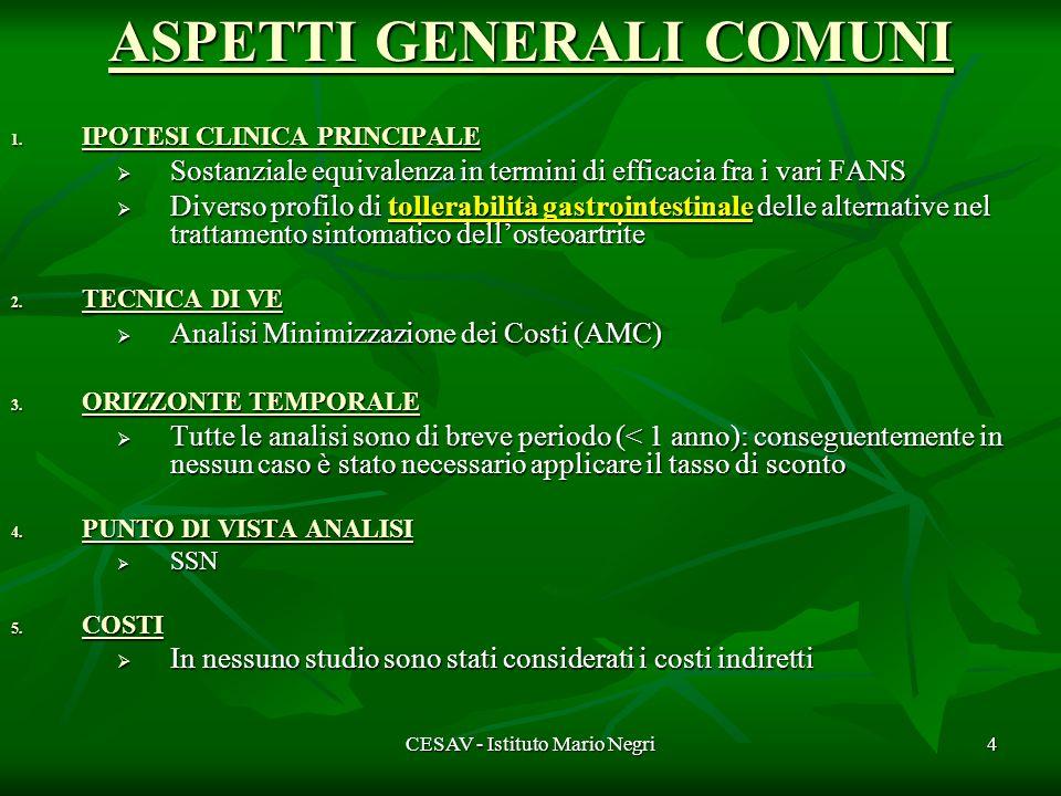 CESAV - Istituto Mario Negri4 ASPETTI GENERALI COMUNI 1.