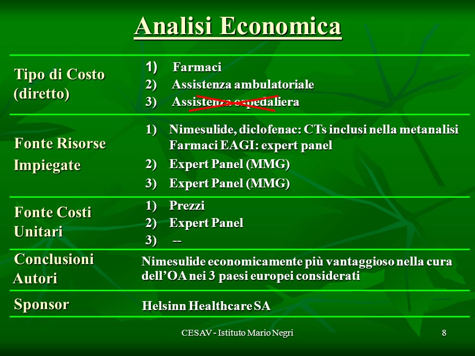 CESAV - Istituto Mario Negri9 Commento critico … 1.