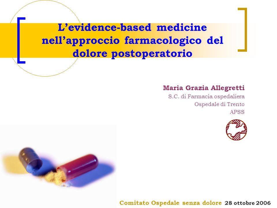 Comitato Ospedale senza dolore 28 ottobre 2006 Levidence-based medicine nellapproccio farmacologico del dolore postoperatorio Maria Grazia Allegretti