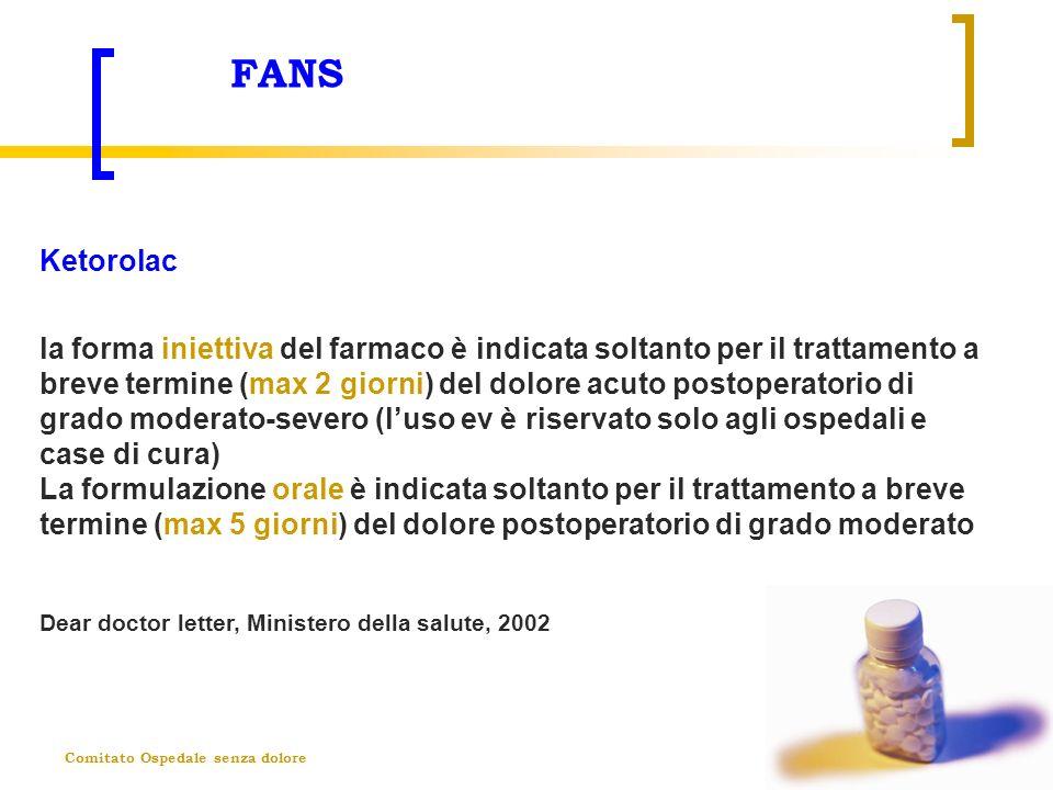Comitato Ospedale senza dolore FANS Ketorolac la forma iniettiva del farmaco è indicata soltanto per il trattamento a breve termine (max 2 giorni) del