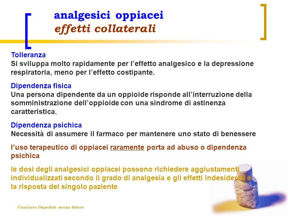 Comitato Ospedale senza dolore analgesici oppiacei effetti collaterali Tolleranza Si sviluppa molto rapidamente per leffetto analgesico e la depressio