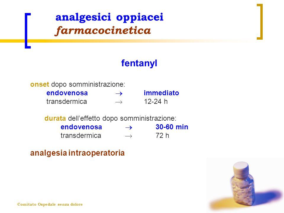 Comitato Ospedale senza dolore analgesici oppiacei farmacocinetica fentanyl onset dopo somministrazione: endovenosa immediato transdermica 12-24 h dur