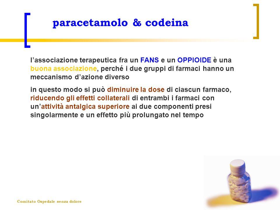 Comitato Ospedale senza dolore paracetamolo & codeina lassociazione terapeutica fra un FANS e un OPPIOIDE è una buona associazione, perché i due grupp